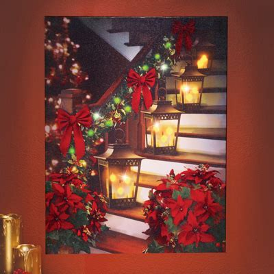 led lighted holiday staircase wall canvas from collections