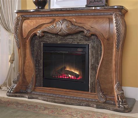 Marble Top Electric Fireplace by Michael Amini Traditional Fireplace Marble Top W