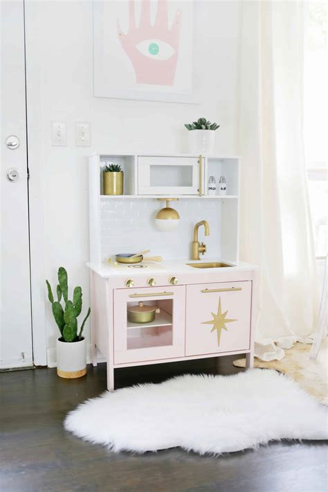 mid century modern ikea play kitchen hack  beautiful mess