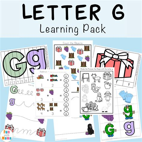 and activities letter g preschool printable pack with