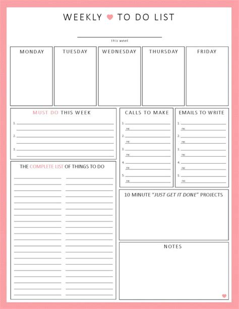 printable weekly planner with to do list weekly to do list 1 sheet printable organization by sheplans