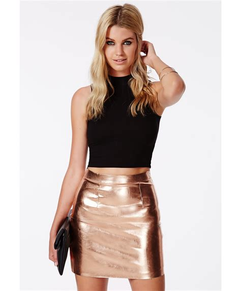 missguided sergia rose gold metallic mini skirt