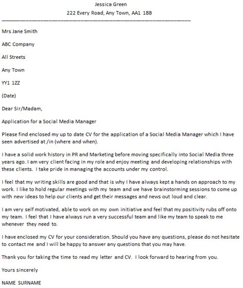 Social Media Manager Cover Letter Social Media Manager Cover Letter Exle Icover Org Uk