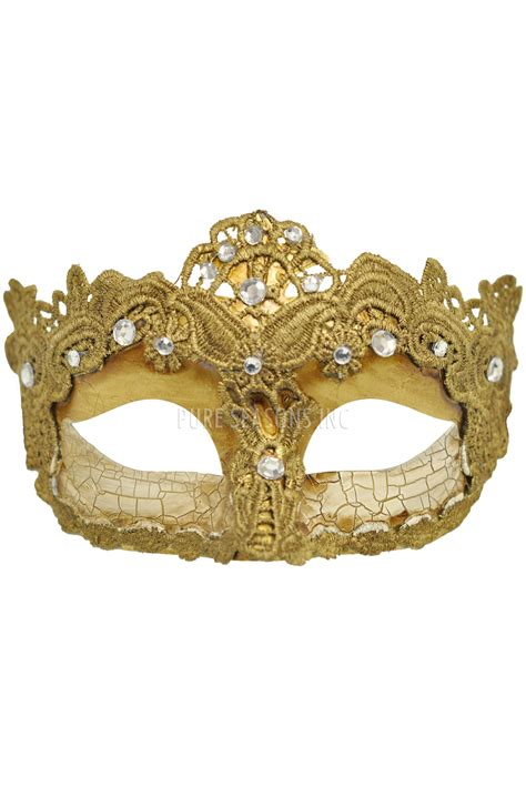 shattered lace masquerade mask gold purecostumes com