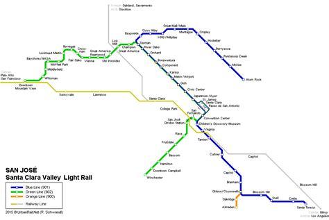 san jose lights map urbanrail net gt usa gt san jos 233 light rail