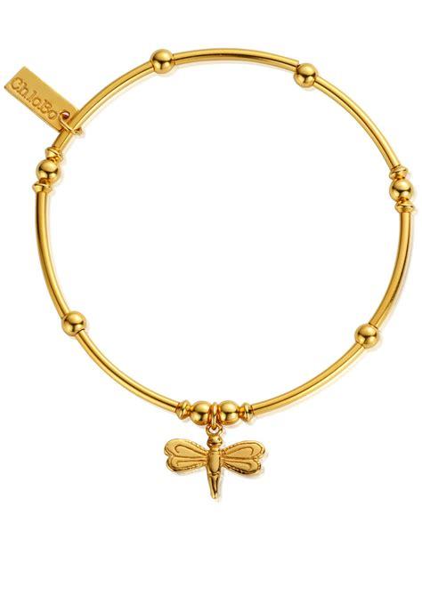 ChloBo Mini Noodle Ball Dragonfly Bracelet   Gold