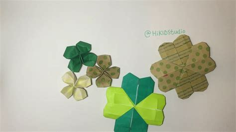 Origami St - easy st s day clover origami ラッキークローバー折り紙 幸運四葉草摺紙