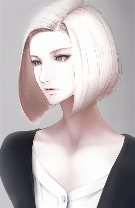 blonde bob characters erise unnaturally white skin realistic bob cut anime