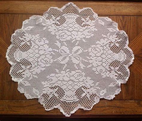 antique pattern library crochet antique vintage 23 quot oval filet crochet white doily topper