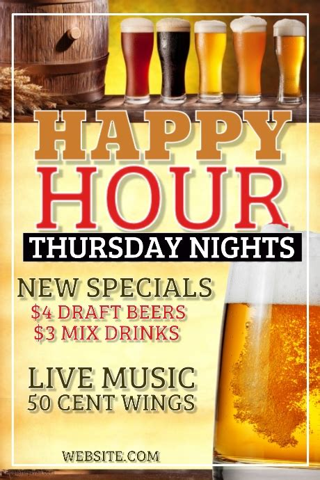 Happy Hour Template Postermywall Happy Hour Flyer Template Free