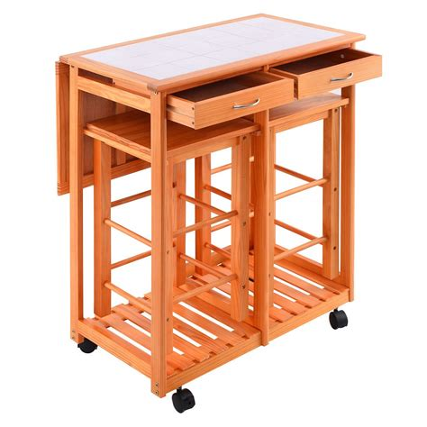 rolling kitchen island cart rolling kitchen trolley cart island drop leaf table w 2 stools home breakfast ebay