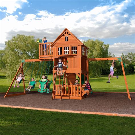 swing set skyfort ii wooden swing set in 2019 playset cedar