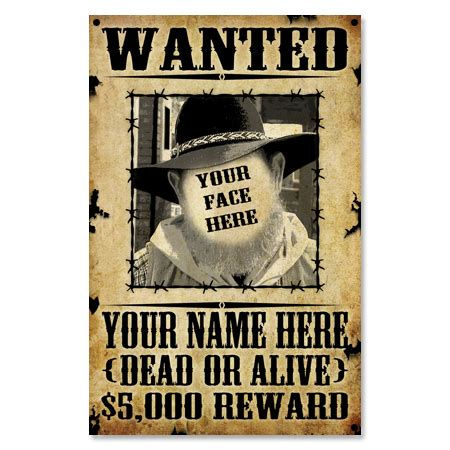 Home Decor Mail Order Catalog personalized old west wanted poster sign your face here