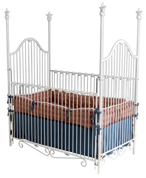 White Iron Cribs by Finial Crib In White