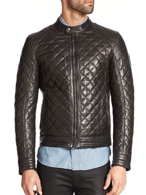 Mens Quilted Black Jacket by Belstaff Quilted Leather Moto Jacket In Black For Lyst