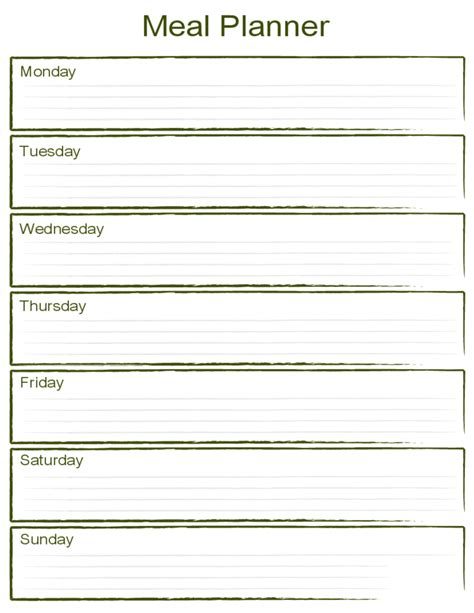 blank weekly meal planner template free download
