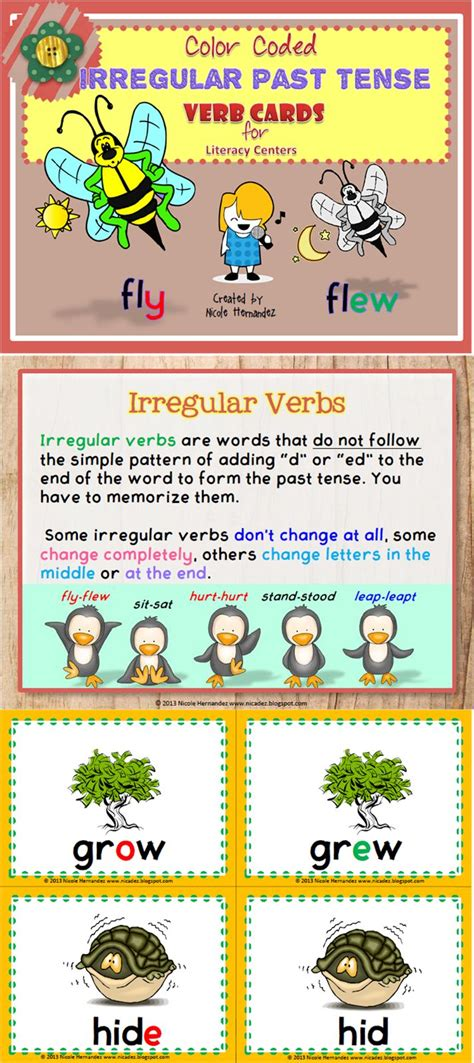 irregular past tense verb cards organized by pattern of change 17 best images about verbs on pinterest writers notebook