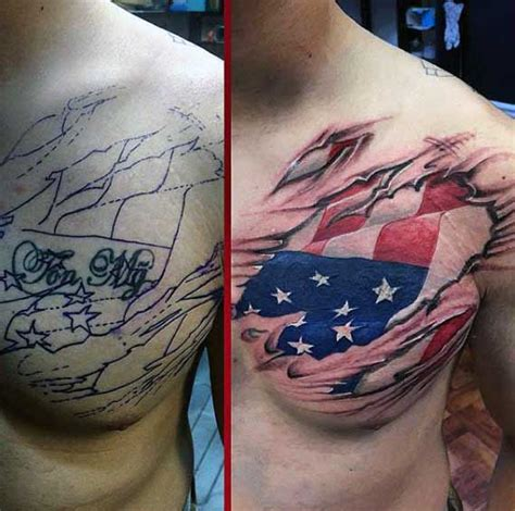 american flag ripping through skin tattoo 50 ripped skin designs for manly torn flesh ink