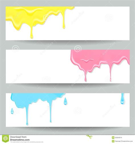 design site header three colorful paint banners stock photo image 32004314