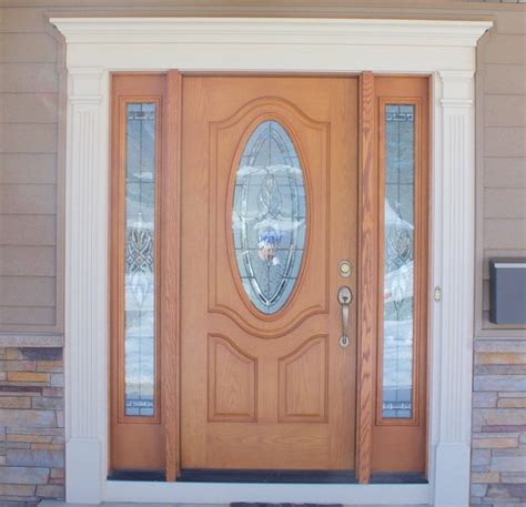 Decorative Exterior Door Trim Wood Grain Front Door With Oval Window Decorative White Trim Modern Front Doors Other