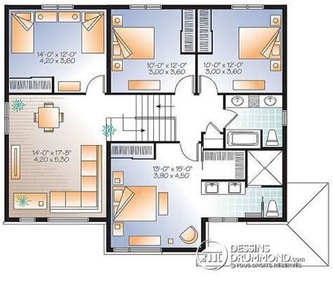 Two Story Mobile Home Floor Plans by D 233 Tail Du Plan De Maison Unifamiliale W3875 V1