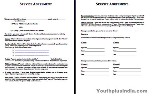business for services template service agreement template youth plus india
