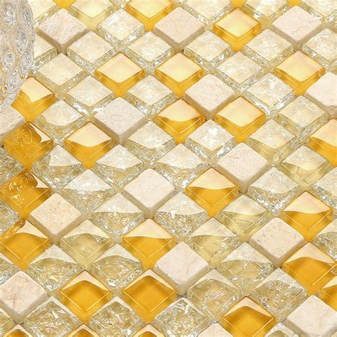 glass mosaic tiles white and orange mixed crystal glass glossy orange glass mixed clearcrackle glass beige stone