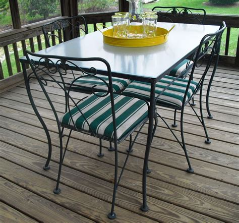 wrought iron glass top patio table vintage meadowcraft wrought iron glass top table chairs