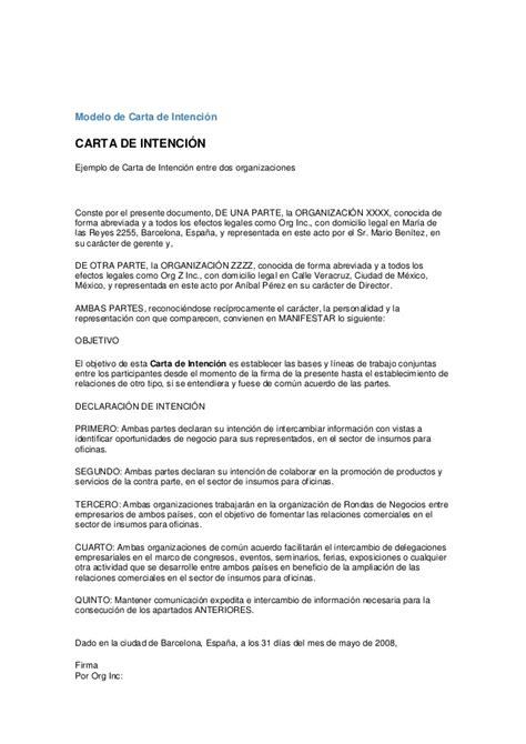 carta de intencion trabajo modelo de carta de intenci 243 n