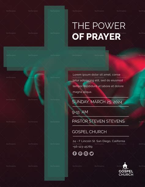 The Power Of Prayer Church Flyer Design Template In Psd Word Publisher Illustrator Indesign Prayer Flyer Template