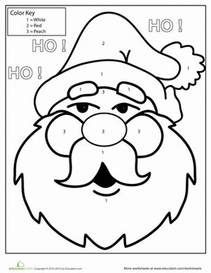 santa math coloring pages color by number santa worksheet education com
