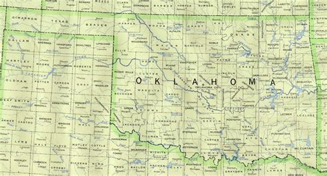 road map of oklahoma and texas state of oklahoma maps of interstate highways cities typography