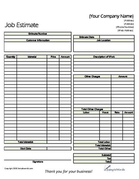 Construction Bid Sheet Template by Construction Form Template