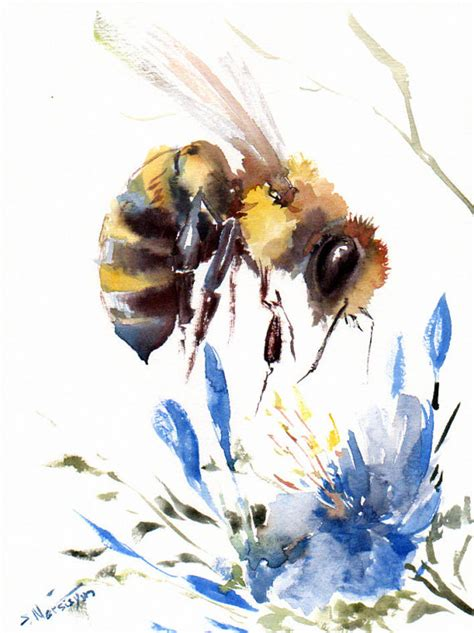 bee and blue flower original watercolor painting 12 x 9 in honeyh bee bee lover bee