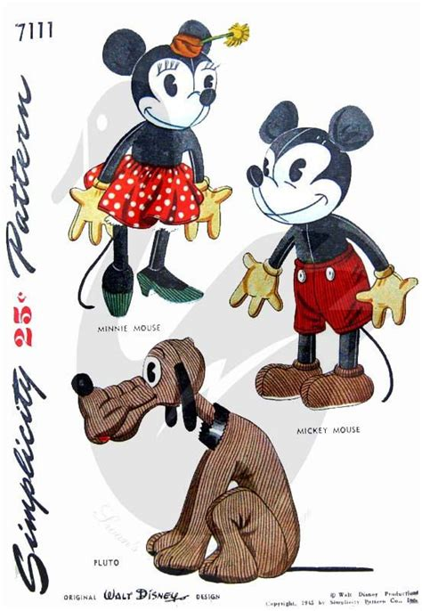vintage mouse pattern mickey and minnie mouse and pluto doll sewing pattern