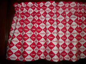 Coca Cola Kitchen Curtains Coca Cola Coke Soda Squares Logo Fabric Curtain Kitchen Topper Valance Ebay