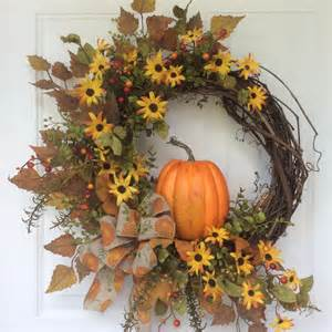 Thanksgiving Door Decoration Ideas Fall Wreaths Pumpkin Wreath Front Door Decor Autumn
