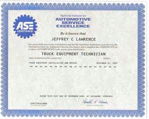 ase certificate template michigan truck aerial lift repair and service