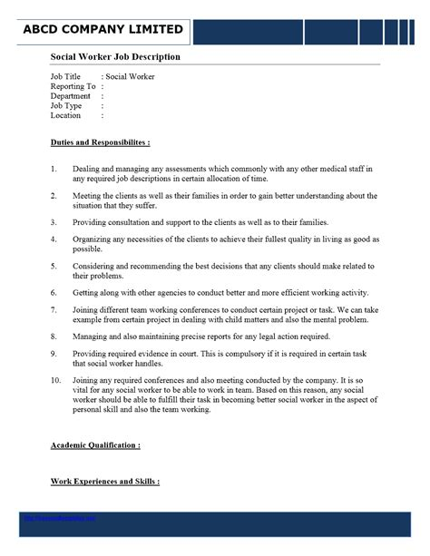 social workers duties and responsibilities
