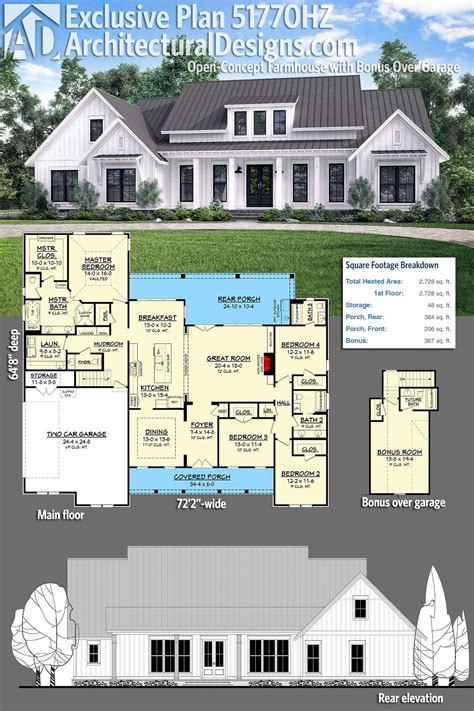 Garage Architectural Plans by Plan 51770hz Open Concept Farmhouse With Bonus