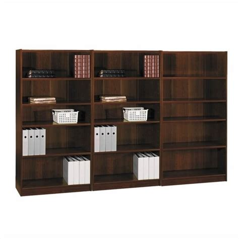 bush universal 5 shelf 72 bookcase bush universal 5 shelf wall bookcase in vogue cherry