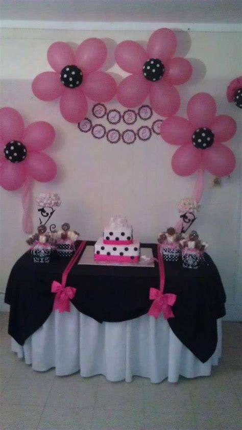 black and white polka dots and damask with fuschia