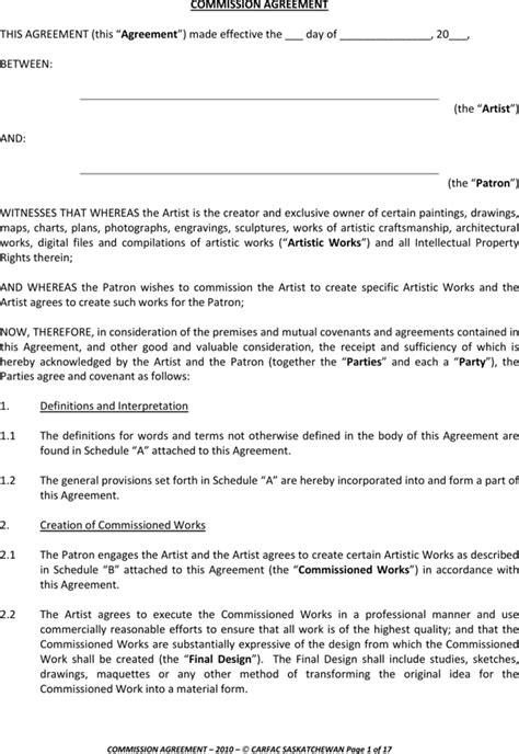 download commission agreement template for free page 3