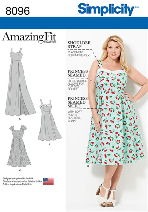 sewing pattern sizes simplicity 8096 amazing fit plus size dresses