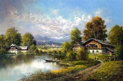 original cottages by the lake painting for sale