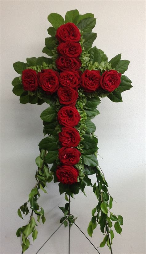 funeral flower arrangement red cross grandpa funeral