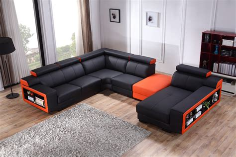 Divani Casa T361 Modern Black Orange Leather Sectional Sofa Orange Leather Sectional Sofa
