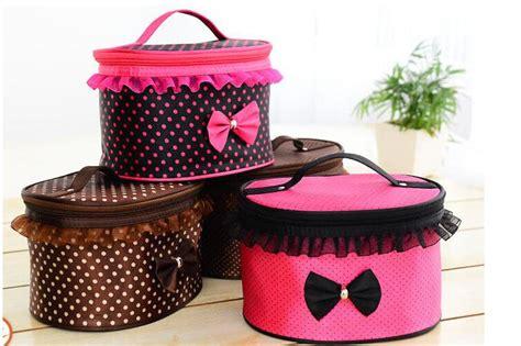 Tas Kosmetik Travel Pouch Model Dot tas kosmetik travel pita lucu wanita pink jakartanotebook