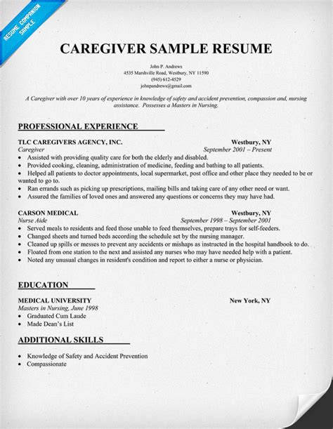 caregiver resume sle resumecompanion resume sles across all industries