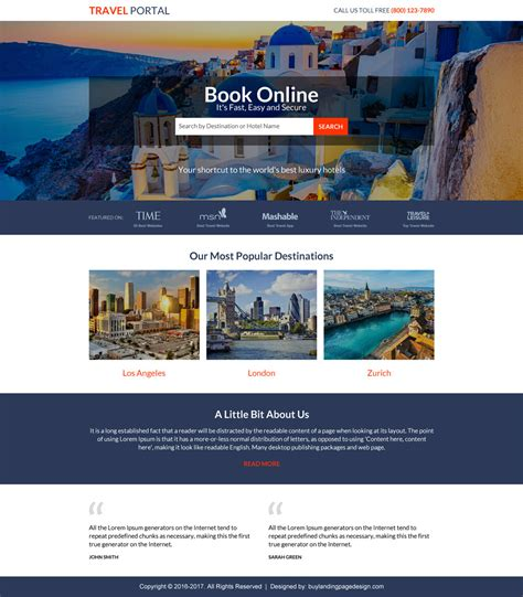 travel portal templates best travel landing pages for travel booking agency